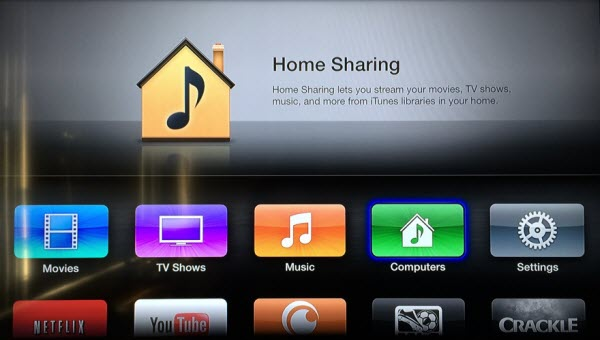 Setup Home Sharing on your Apple TV