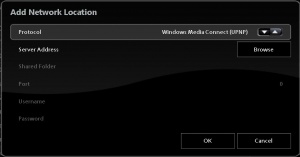 Choose Windows Media Connect as the Protocol