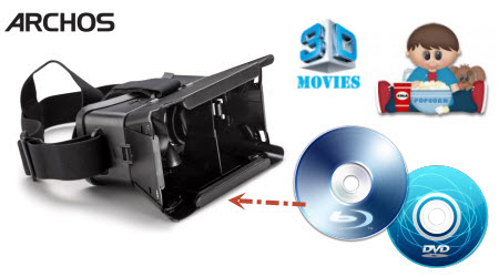 play Blu-ray/DVD with Archos VR headset