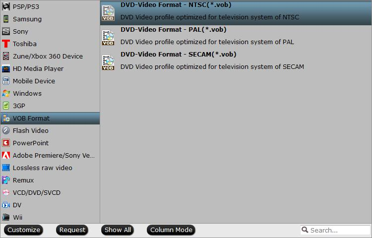 Output DVD- Video format VOB