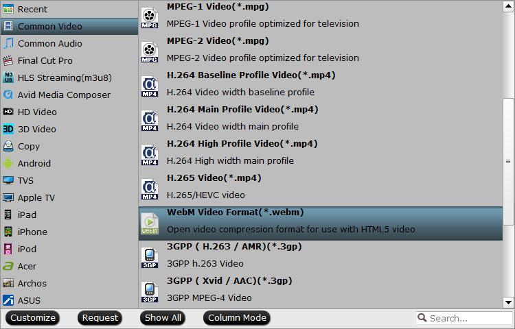 Output HTML5 video webM format