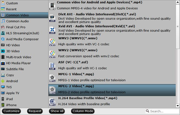 Output Tivo devices supported MPEG-2 format